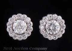 18 kt. White Gold and Diamond Earrings