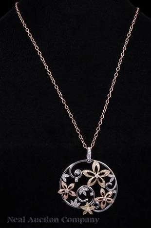 White Yellow and Rose Gold and Diamond Pendant