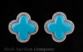 White Gold, Blue Quatrefoil and Diamond Earrings