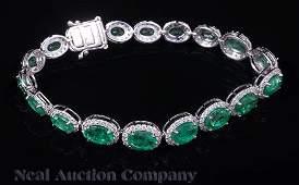 14 kt White Gold Emerald and Diamond Bracelet