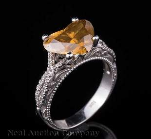 White Gold Colored and Colorless Diamond Ring
