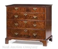 George III Burled Walnut Chest of Drawers