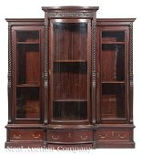 Aesthetic Carved Mahogany Triple Bookcase