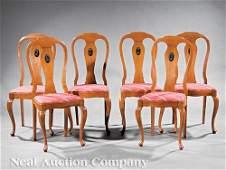 Parcel Ebonized, Carved Oak Side Chairs