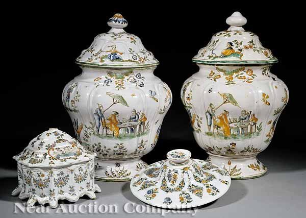 7: Associated Pair of French Faience Covered Coupes
