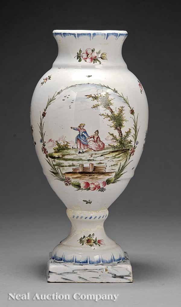 9: French Faience Baluster Vase