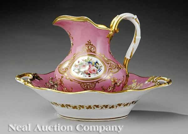 13: Paris Porcelain Polychrome, Gilt Basin & Pitcher