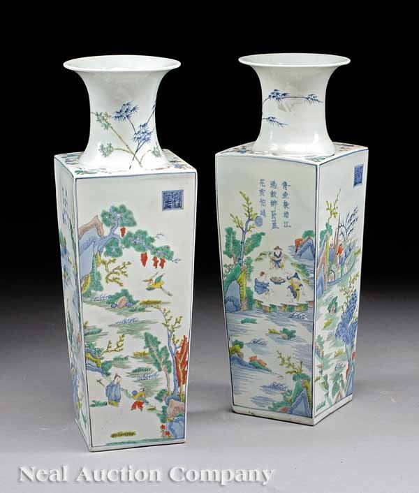 14: Pair of Chinese Famille Verte Porcelain Vases