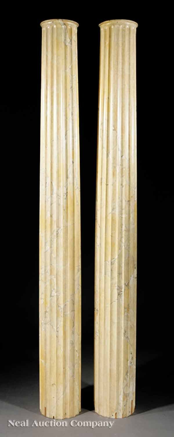 16: Pair of Faux Marbre Fluted Columns