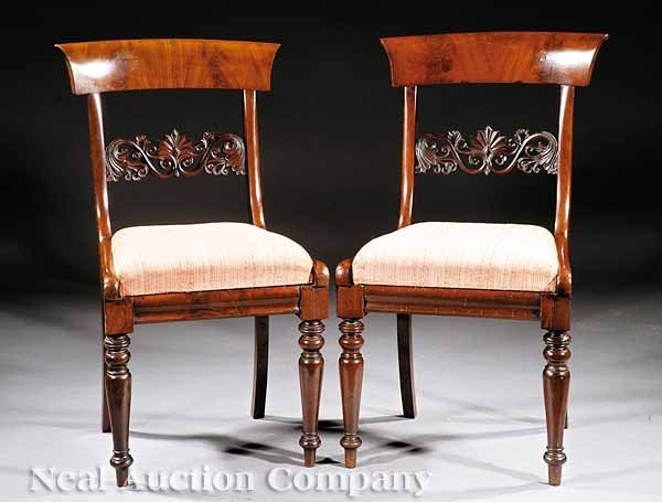 18: Pair of American Carved Mahogany Side Chairs