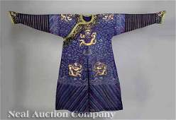 241: Chinese Embroidered Silk Robe, dragon, Qing, Asian