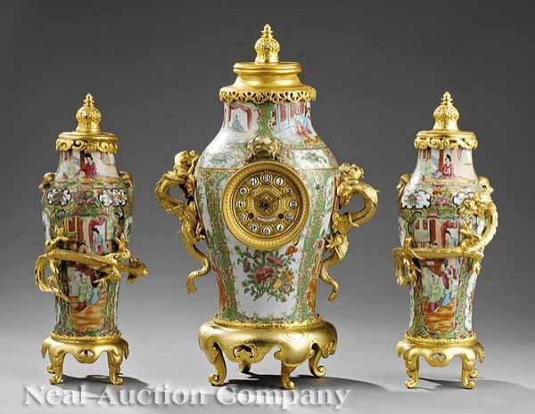475: Famille Rose Porcelain Clock Garntiture Set