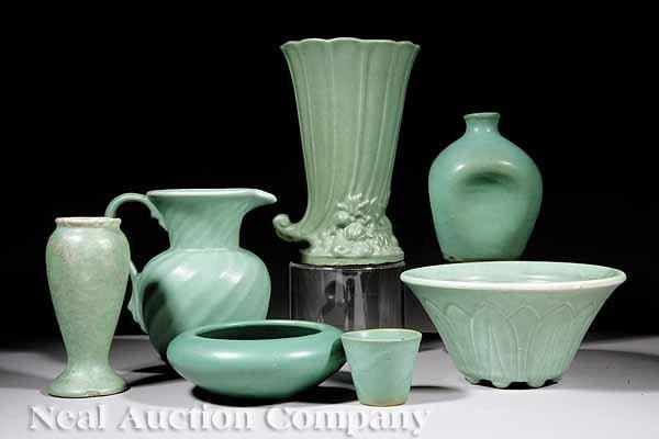621: American Art Pottery Green Matte Glaze Objects
