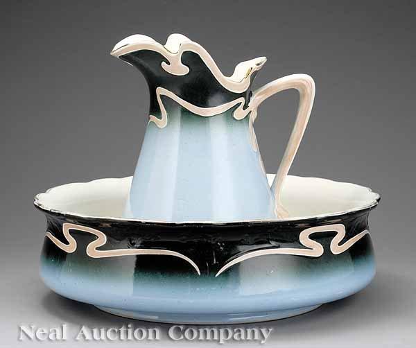 626: German Art Nouveau Earthenware Wash Basin/Pitcher