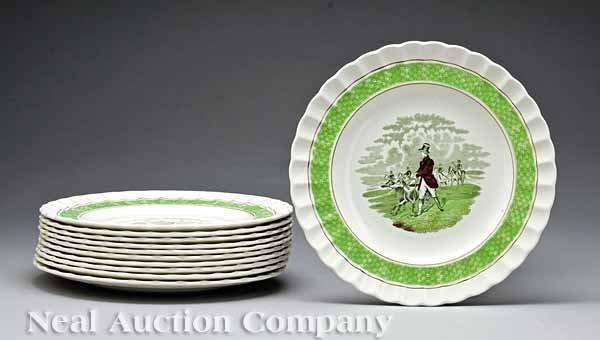 628: Copeland Spode Hunting Motif Dessert Plates