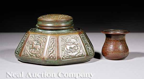 "629: Tiffany Studios Patinated Bronze ""Zodiac"" Inkwell"