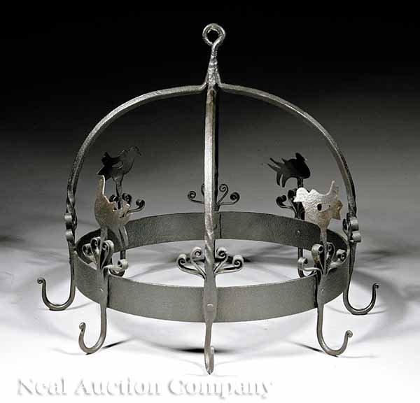 630: Continental Wrought Iron Hanging Pot Rack