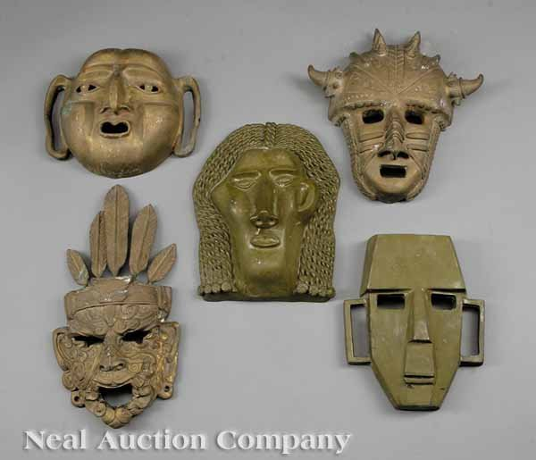 631: Five Patinated Bronze Masques