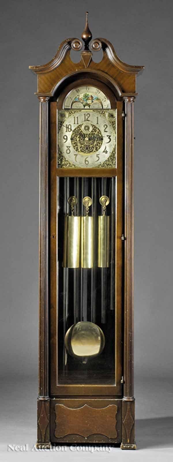 648: Mahogany Tall Case Clock, Hanson Clock Co.