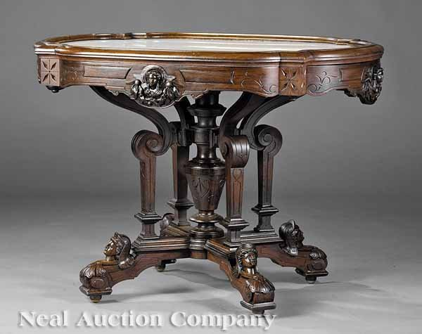 822: Carved Rosewood Center Table, attrib. to Jelliff