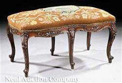 1039: Louis XV-Style Carved Walnut Bench