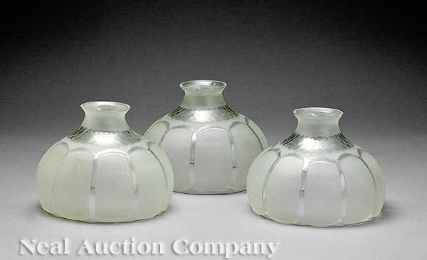 637A: Three Period Etched and Cut Glass Gasolier Globes