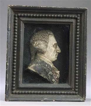 English Wax Profile Portrait of a G
