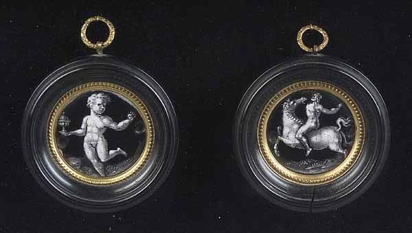 0016: Pair of French Neo-Classical Enamel