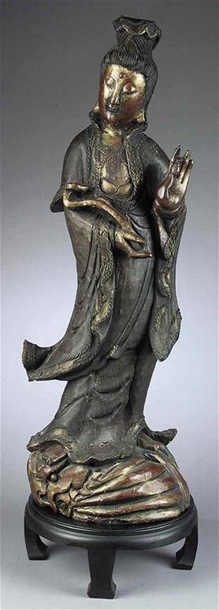 Antique Chinese Carved and Polychro