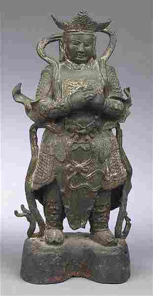 Antique Chinese Polychrome Bronze a