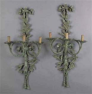 Pair of Verdigris Patinated Bronze T