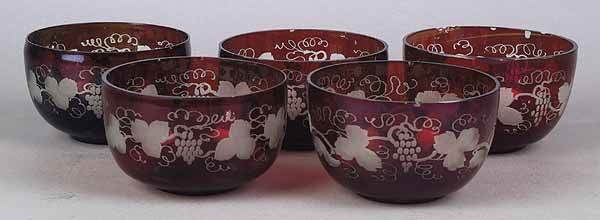 0852: Set of Five American Blown Cranberry