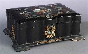 English Papier Mache Footed Box
