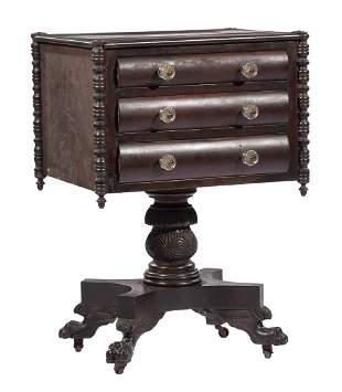 Late Classical Carved Mahogany Work Table