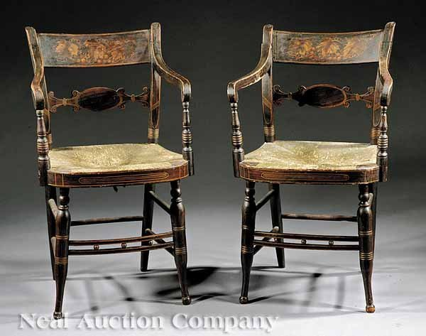 "5: Gilt-Stenciled,  Rosewood Grained ""Fancy"" Chairs"