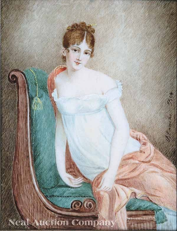 7: Blanche Ber (French, 19th c.) watercolor on ivory