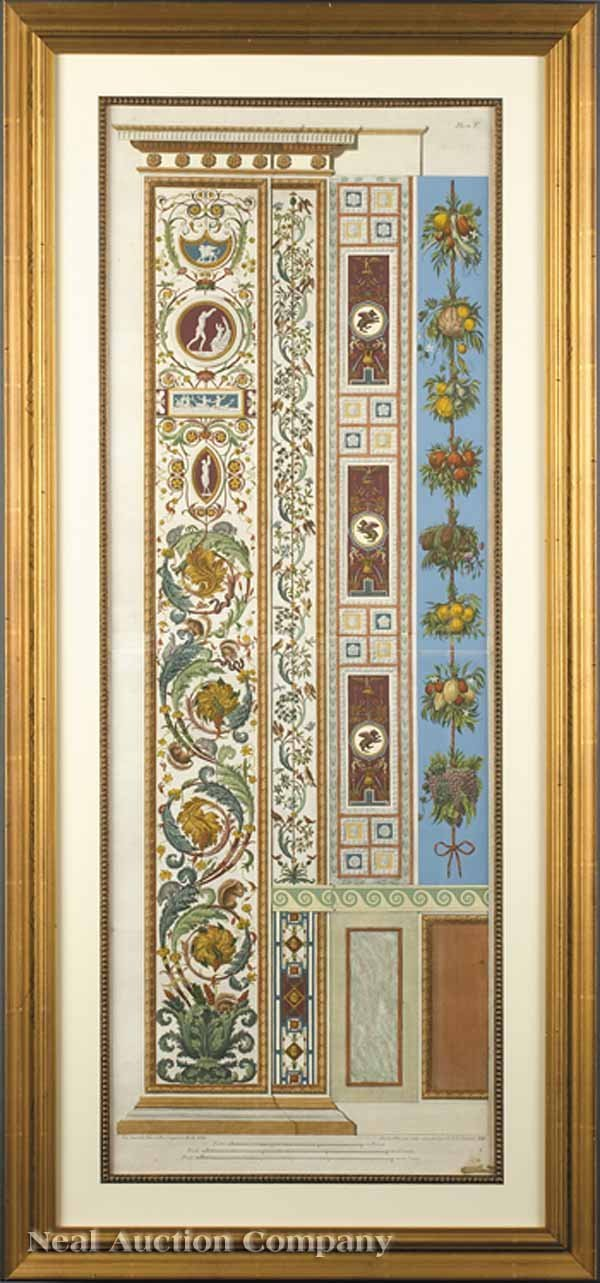 11: Two Hand-Colored Engravings Architectural Panels