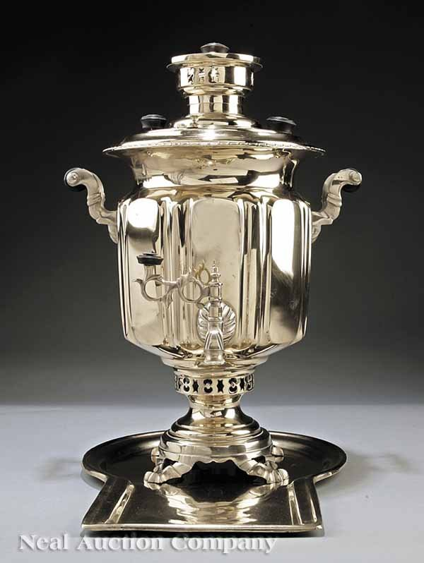 22: Russian Brass Samovar with Tray