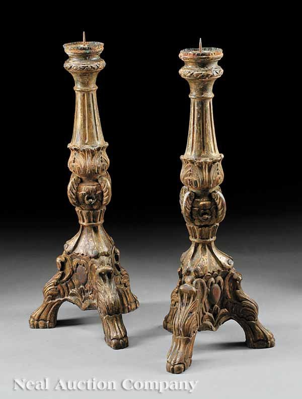 24: Pair of Italian Carved and Gilded Prickets