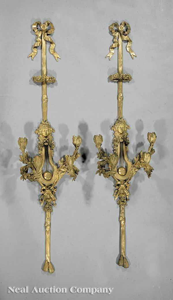 46: Antique Louis XVI-Style Gilt Four-Light Sconces