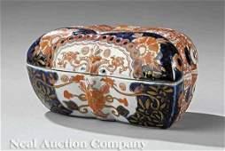 223: Japanese Imari Porcelain Moth-Form Covered Box