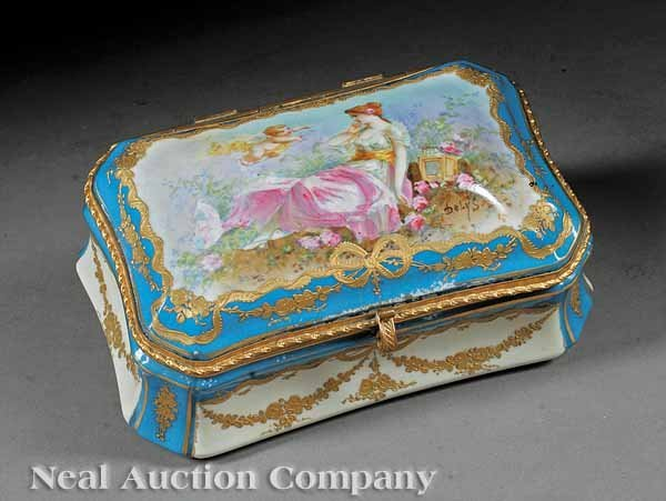 228: Porcelain Gilt Metal-Mounted Dresser Box