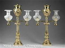 289: Pair of Messenger Brass and Bronze Argand Lamps