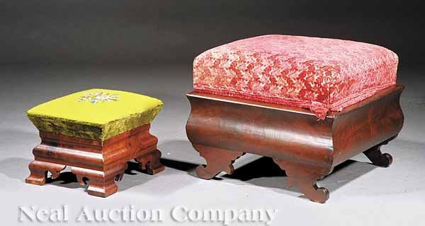 613: Two American Late Classical Mahogany Footstools