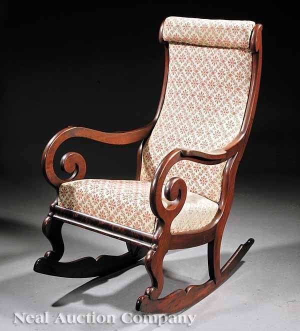 "614: A Late Classical Mahogany ""Lincoln"" Rocker"