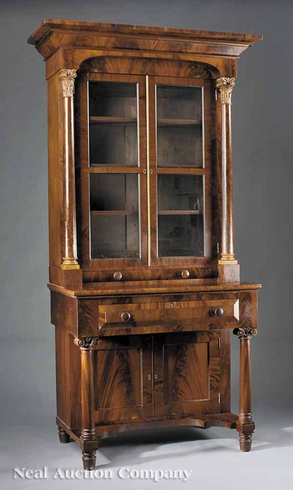 615: ALate Classical Carved Mahogany Bookcase