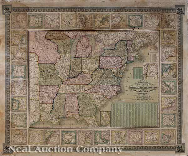 616: [Antique Wall Map of the United States]