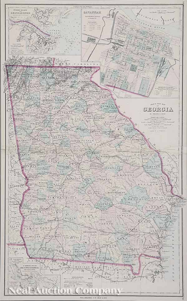 617: An Antique Map of the State of Georgia