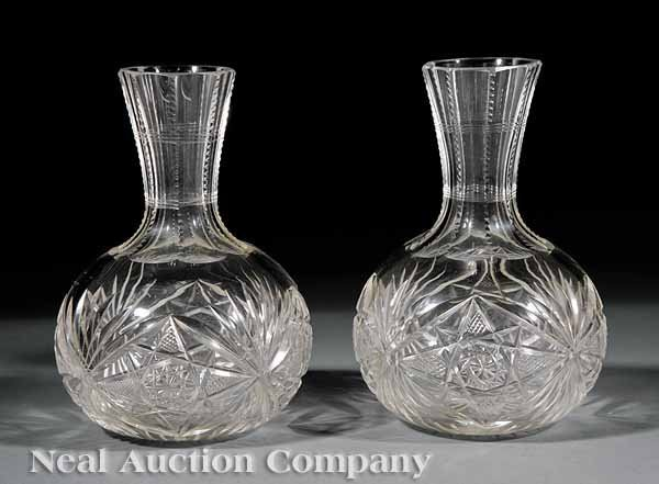 619: A Pair of American Brilliant Cut Glass Carafes