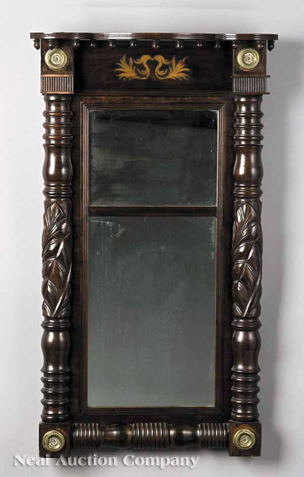 624: An American Carved Mahogany Pier Mirror